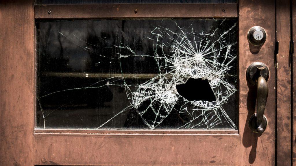 door broken window